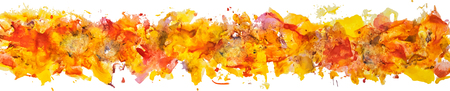Brush stroke. Acrylic paint stain. Long border of gouache watercolor color paint brush stain strokes isolated on a white background as an element for your decor. EPS 10 vector illustration, Illustration
