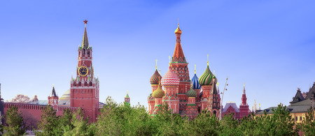 Moscow Kremlin and St Basil's Cathedral on the Red Square in Moscow, Russia.