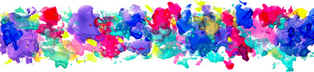 Bright watercolor stains for decoration of posters, typography, flyers and other. Rainbow colors - yellow, red, violet, indigo, blue, pink, red, green. ESP 10 vector, 版權商用圖片 - 100265494