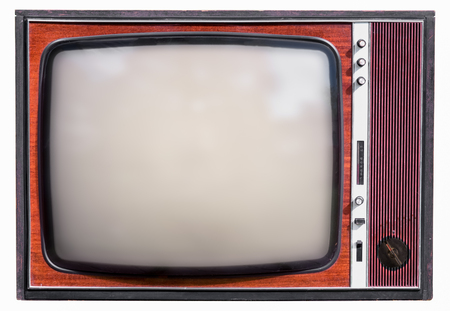 old tv set isolated on white background