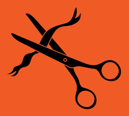 Ceremony ribbon scissors cut icon.