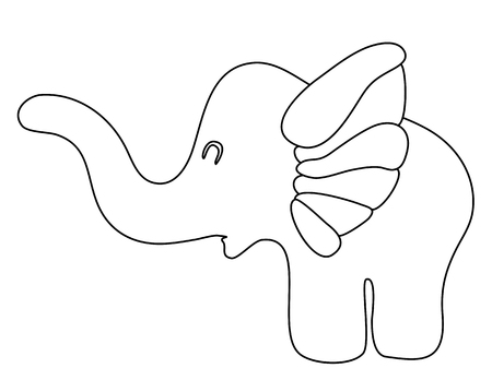 toy childish elephant flat silhouette vector illustration