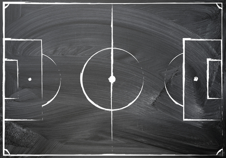 football field plan, uneven hand chalk drawn on the blackboard texture background, top view. image for international world championship. sport education concept, with copy space for your chalk text.
