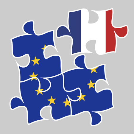 Participation of France in the euro-economy concept. Three puzzle elements with European union flag and one with French flag esp 10 vector illustration. Illustration