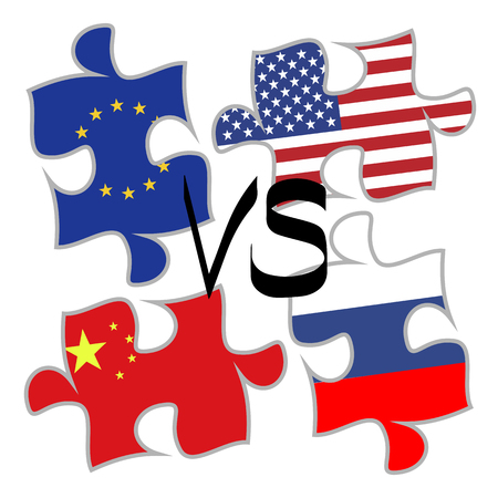 Trade War Concept Between The United States And China Russia