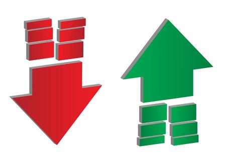 Frecce su e giù. Frecce verso l'alto e verso il basso con estremità divisorie in verde e rosso isolato su sfondo bianco, set di due. Eps 10 illustrazione vettoriale.