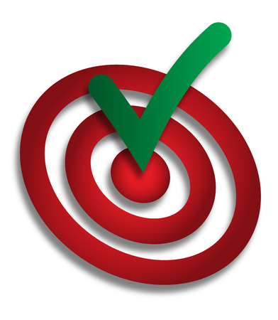 Green done check mark hitting the middle of dartboard. Accomplish, done conceptual symbol, icon, sign in green and red colors with shadow.