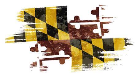 Art brush watercolor painting of Maryland flag blown in the wind isolated on white background eps 10 bector illustration.