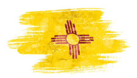 Art brush watercolor painting of New Mexico flag blown in the wind isolated on white background eps 10 bector illustration.