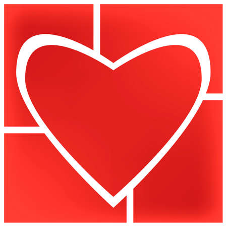 Origami paper infographic red banner. Annotation ribbon. Design shape. Speech talking cloud. Vector label tag. Five frames, with heart shape in the middle and rectangular at the angles. Иллюстрация
