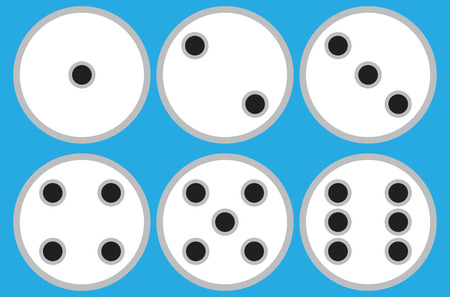 Set of 6 circle flat dices on blue background