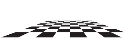 Checkerboard, chessboard, checkered plane in angle perspective. Tilted, vanishing empty floor.