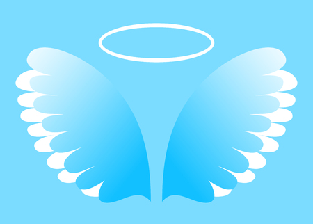 Artificial white paper wings and nimbus on blue background, vector illustration
