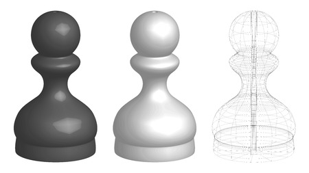set of three 3d chess pawns, white, black, and frame lines silhouette, vector illustration isolated on white background Illustration