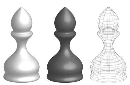 set of three 3d chess bishops, white, black, and frame lines silhouette, vector illustration isolated on white background Illustration