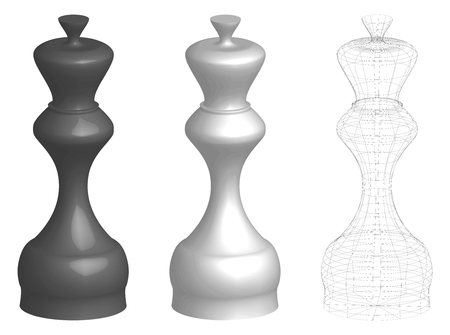 set of three 3d chess kings or queens, white, black, and frame lines silhouette, vector illustration isolated on white background Illustration