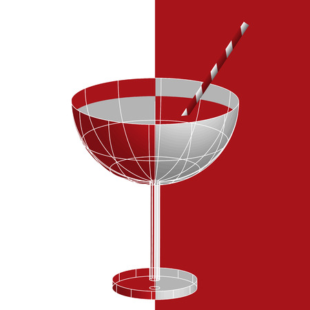 National drinking straw day, January 3. A glass of red liqueur tropical martini cocktail with drinking straw, 3d vector in flat cubism style. Copy space for your text at the white background,