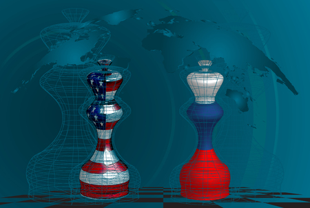 Trade war between USA and Russia, conceptual collage. chess queens with american and russian flags texture on a chessboard Ilustração