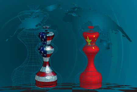 Trade war between USA and China, conceptual collage. chess queens with american and chines flags texture on a chessboard