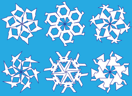 Snowflakes icons set vector illustration for element Christmas and New Year card.