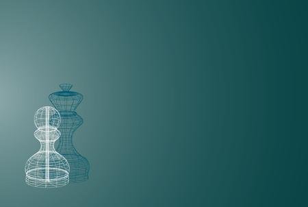 business presentation background with chess piece pawn consisting of wireframe lines and queen as a chadow, passing pawn successfull strategy concept.