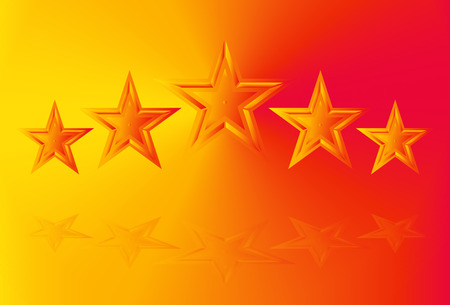 Five shining rating star vector illustration on gradient background in yellow - orange colors with reflections