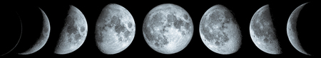 Phases of the Moon: waxing crescent, first quarter, waxing gibbous, full moon, waning gibbous, third guarter, waning crescent, and new moon. Reklamní fotografie