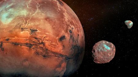 Mars avec ses deux lunes cratérisées Phobos et Deimos.