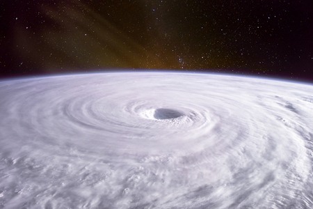 Typhoon. Satellite view. Elements  image. Stock Photo
