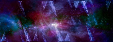 Universe nebula galaxy and the sacred geometry collage abstract outer space. Triangular piramids and gradient from blue to violet, panoramic view.
