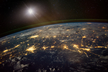 Lights from areas in the Gulf Coast states of Texas, Louisiana