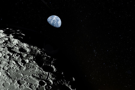 Moon surface, stars and planet Earth above.