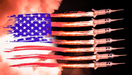 USA flag and missiles launch from the flamed stripes.