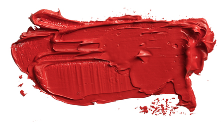 Textured hand drawn red oil paint brush stroke painting, convex with shadows 版權商用圖片