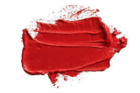 Textured hand drawn red oil paint brush stroke painting, convex with shadows Stock Photo