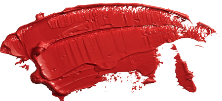 Red oil texture paint stain brush stroke isolated on transparent background, eps 10 vector illustration.