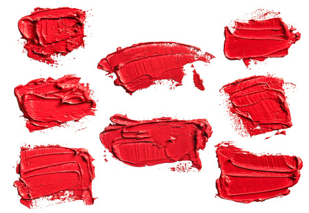 Set of eight textured red oil paint brush stroke, convex with shadows