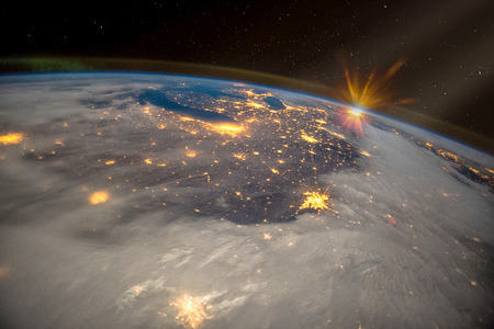 Great Lakes of North America at night, satellite view, The elements of this image furnished by NASA. Stock Photo