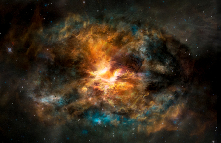 Landscape background of fantasy alien galaxy with glowing clouds and stars with light at the middle. The elements of this image furnished by NASA.