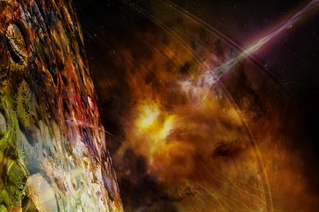 Alien planet in outer space with flame of galaxy and laser beam. Elements of this image furnished by NASA.