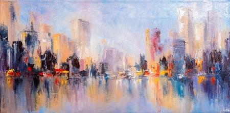 Vista de la ciudad del horizonte con reflejos sobre el agua. Pintura al óleo original sobre lienzo,