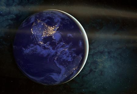 Le Americhe di notte viste dallo spazio con le luci della città che mostrano l'attività umana negli Stati Uniti (USA), Canada e Messico, New York, California. Gli elementi di questa immagine fornita dalla NASA.