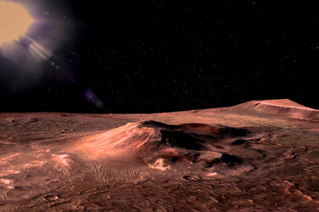 Mars - the red planet. Martian surface with hills and craters and dust in the atmosphere. Lens flare. Stock Photo