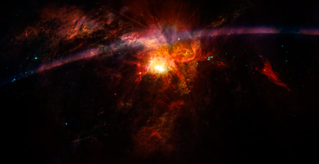 Space  with nebula and stars  and flash lens flare for use with projects on science, research and education. Stock Photo