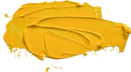 Textured yellow oil paint brush stroke,convex with shadows, isolated on transparent background. EPS 10 vector illustration.