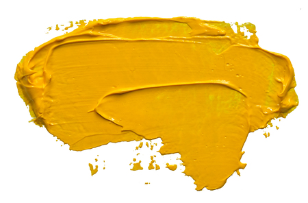 Textured yellow oil paint brush stroke,convex with shadows, isolated on transparent 版權商用圖片