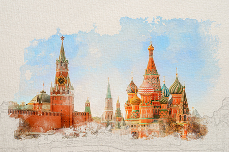 Stylized by watercolor sketch painting of Moscow Kremlin and St Basil's Cathedral on the Red Square in Moscow, Russia on a textured paper. Retro style postcard. 免版税图像