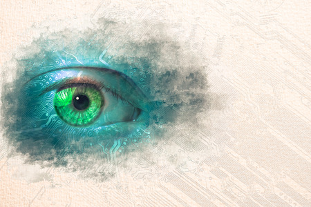 Stylized by watercolor sketch painting on a textured paper of data eye with technical background. One eye glows on a cirvuit board pattern with copy space for your text at the side.