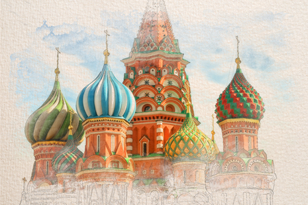 Stylized by watercolor sketch painting of St. Basil Cathedral, Red Square, Moscow, on a textured paper. Retro style postcard. Stock Photo