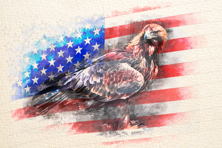 Stylized by watercolor sketch painting on a textured paper of American bald eagle combined with USA flag.